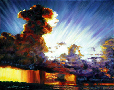 Storm Clouds Painting - Sunrise After The Storm by John Lautermilch