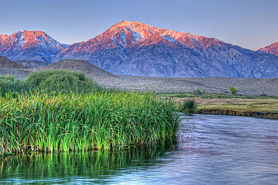 Owens River Photograph - Sunrise Alpenglow On Mt Tom And Owen's River, California, Usa, October 2010 by Bill Wight