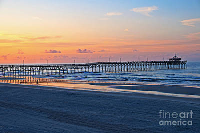 Sunrise At Cherry Grove Pier Art Print