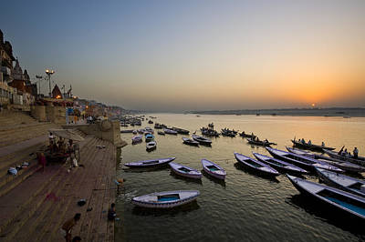 Sunrise At Ganges River Art Print
