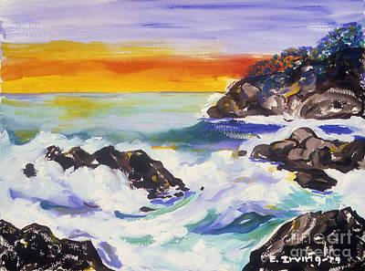 Malibu Painting - Sunrise At Malibu by Elena Irving