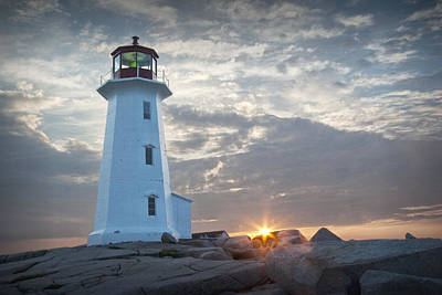 Randall Nyhof Royalty Free Images - Sunrise at Peggys Cove Lighthouse in Nova Scotia Number 041 Royalty-Free Image by Randall Nyhof