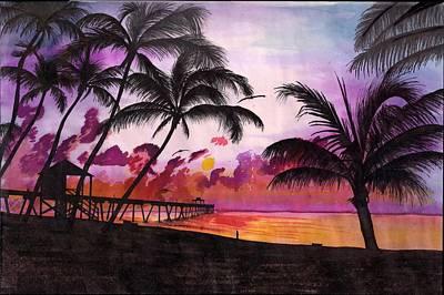 Sunrise At The Deerfield Beach Pier Art Print