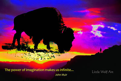 Sunrise Bison Collage Art Print