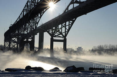 Photograph - Sunrise Blue Water Bridges Fog by Ronald Grogan