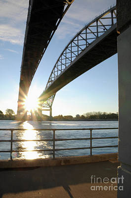 Photograph - Sunrise Blue Water Bridges by Ronald Grogan