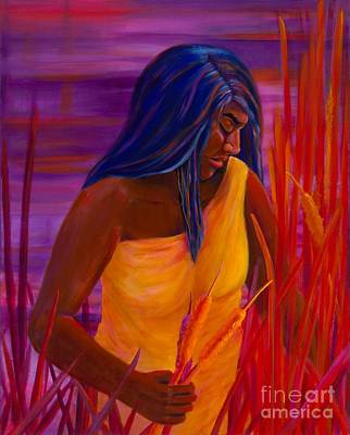 Native American Art Painting - Sunrise Cattails by S J Killian