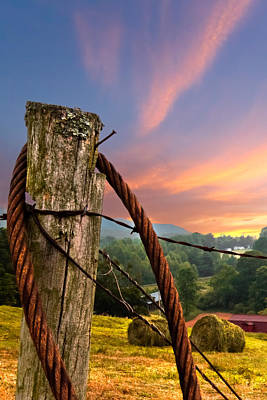 Tennessee Hay Bales Photograph - Sunrise Lasso by Debra and Dave Vanderlaan