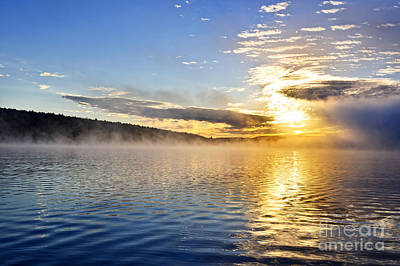 Sunrise On Foggy Lake Print by Elena Elisseeva