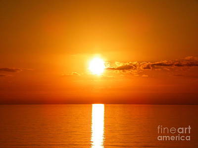 Art Print featuring the photograph Sunrise Orange Skies by Eve Spring
