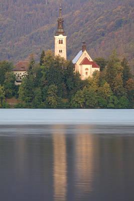Sunrise Over Lake Bled And The Island Church Art Print