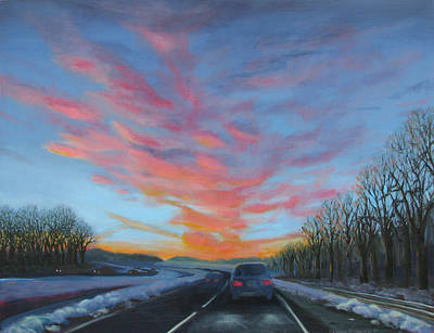 Painting - Sunrise Over The Highway by Art Nomad Sandra  Hansen