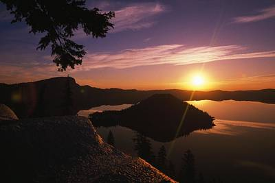 Sunrise Over Wizard Island At Crater Art Print
