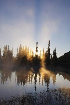 Sunrise Reflected In Reflection Lake In Art Print by Craig Tuttle
