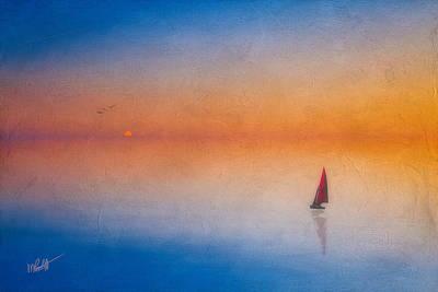 Sailboat Ocean Mixed Media - Sunrise Sail by Michael Petrizzo