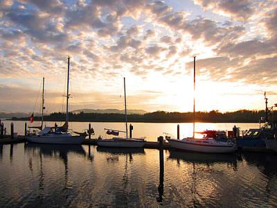 Sunrise Sailboats On Coos Bay Art Print by Gary Rifkin