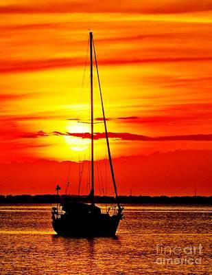 Sunrise Sailing Print by Nick Zelinsky