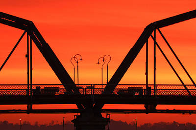 Sunrise Walnut Street Bridge Art Print by Tom and Pat Cory