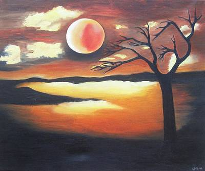 Sunset - Oil Painting Art Print by Rejeena Niaz