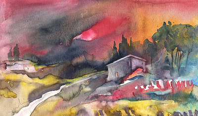 Spanish House Painting - Sunset 33 by Miki De Goodaboom