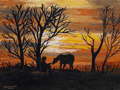 Painting - Sunset After A Great Ride by J Cheyenne Howell