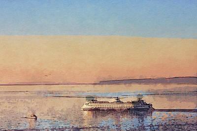 Sunset And Ferry Art Print by Arthur Kuntz