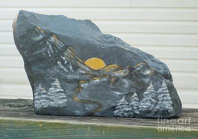 Sunset And Mountains Art Print by Monika Shepherdson