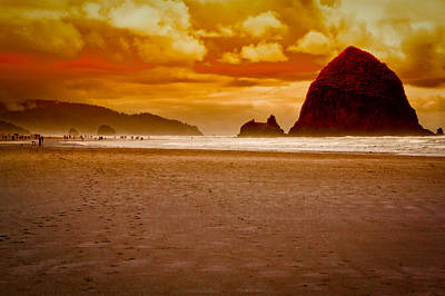 Shoreline Photograph - Sunset At Cannon Beach by David Patterson