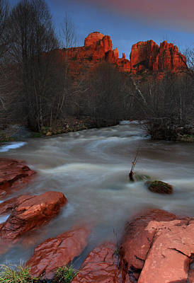 Sunset At Cathedral Rock Art Print by Dave Sribnik