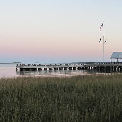 Pier Photograph - Sunset At Charleston Bay 5 by Cathy Lindsey