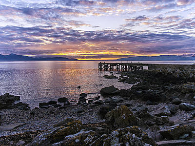 Sunset At Portencross Jetty Art Print
