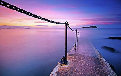 Long Chain Photograph - Sunset At Sea by Stewart Hardy