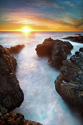 Sunset At Seashore Print by John B. Mueller Photography