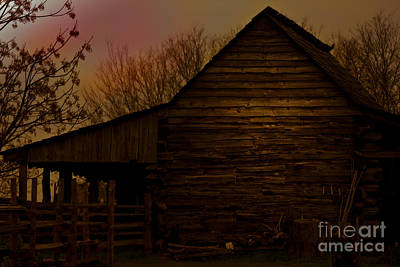 Mixed Media - Sunset At The Barn by Kim Henderson