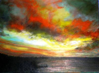 Painting - Sunset At The End Of The Summer by Marie-Line Vasseur