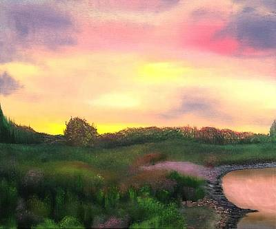 Sunset At The Lake Art Print by Amity Traylor