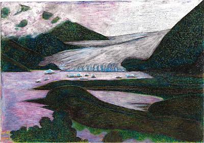 Natural Resources Painting - Sunset At Mendenhall Glacier Juneau  Alaska by Al Goldfarb