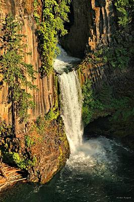 Sunset At Toketee Falls Art Print by Winston Rockwell