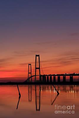 Sunset By The Bridge Art Print by Jorgen Norgaard