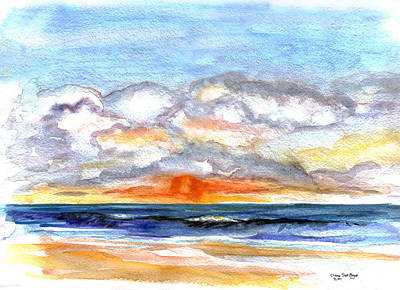 Art Print featuring the painting Sunset Clouds by Clara Sue Beym