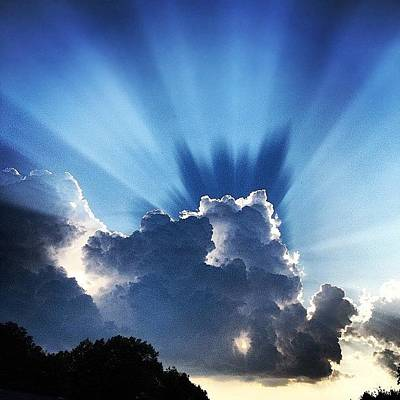 #sunset #clouds #weather #rays #light Art Print