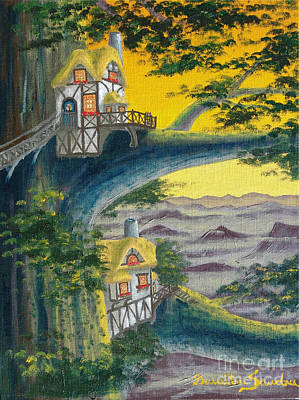 Sandru Painting - Sunset Cottage From Arboregal by Dumitru Sandru