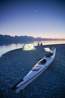 Sunset, Couple Beach Camping With Kayak Art Print