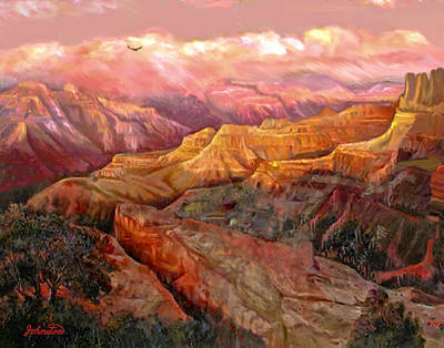 Sunset Grand Canyon Painting - Sunset Grand Canyon by Bob and Nadine Johnston