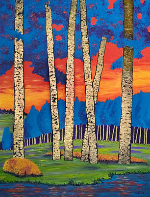 Painting - Sunset In Aspengrove by Randall Weidner