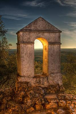Sunset In Monfrague Castle Art Print by Gabor Pozsgai
