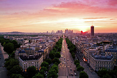 City Streets Photograph - Sunset In Paris by Pink Pixel Photography
