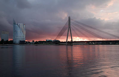 Sunset In Riga Art Print by Claudia Fernandes