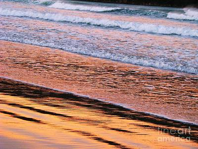 Sunset In Sand And Waves Art Print by Michele Penner