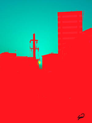 Abstract Digital Art - Sunset In The City by Yiries Saad